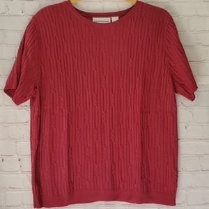 Alfred Dunner Twisted Knit Plum Sweater Large